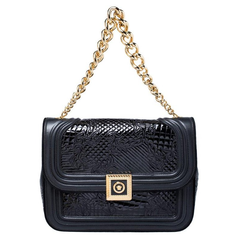 Versace Black Leather and Patent Leather Chain Flap Shoulder Bag For Sale