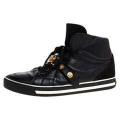 Versace Black Leather And Suede Medusa Strap High Top Sneakers Size 41