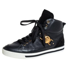 Versace Black Leather And Suede Medusa Strap High Top Sneakers Size 41.5