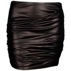 Versace Black Leather Asymmetrical Ruched Mini Skirt Size 38