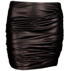 Versace Black Leather Asymmetrical Ruched Mini Skirt Size 40