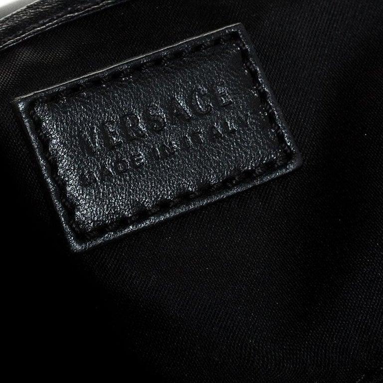 Versace Black Leather Chain Flap Shoulder Bag For Sale 6