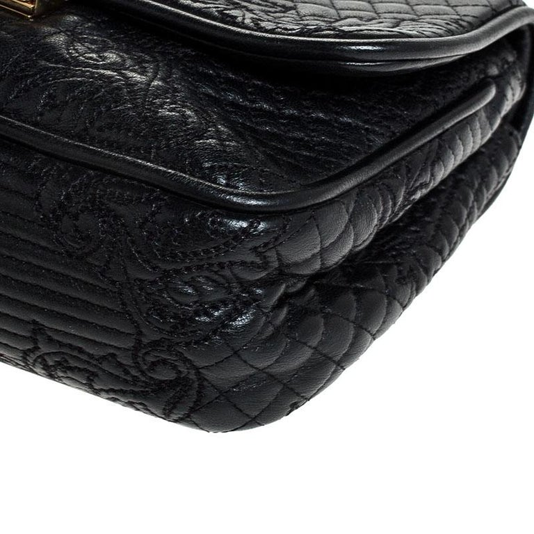Versace Black Leather Chain Flap Shoulder Bag For Sale 7