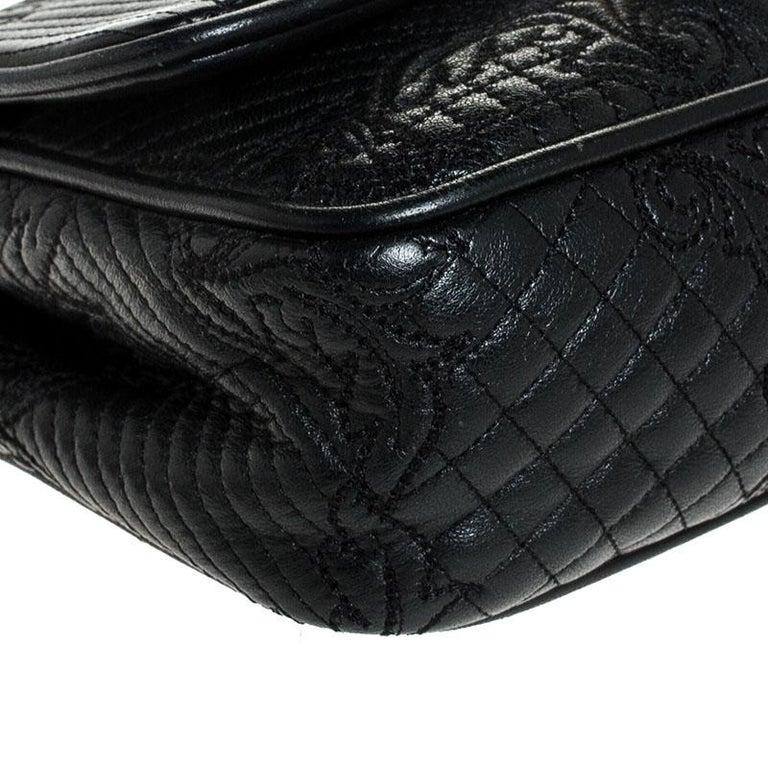 Versace Black Leather Chain Flap Shoulder Bag For Sale 8
