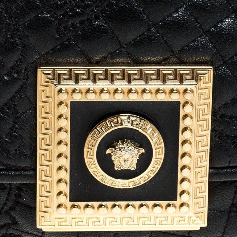 Versace Black Leather Chain Flap Shoulder Bag For Sale 9