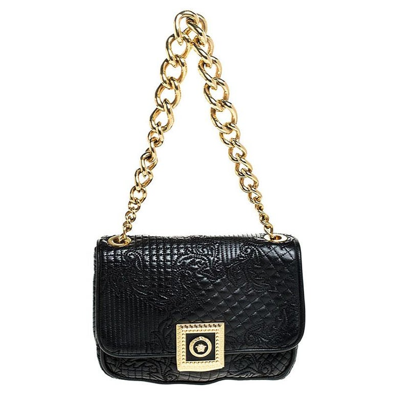 Versace Black Leather Chain Flap Shoulder Bag For Sale 1