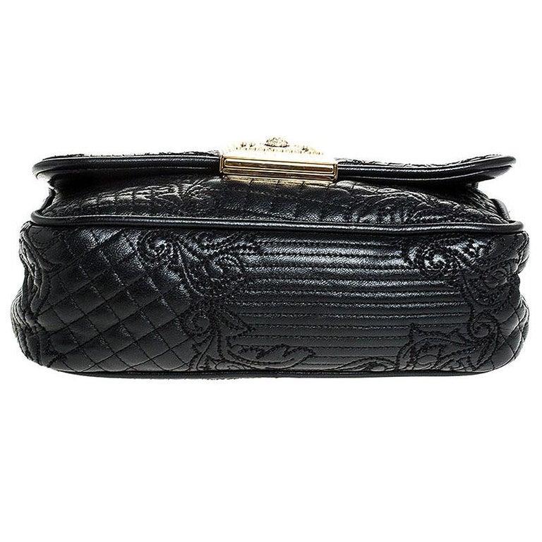 Versace Black Leather Chain Flap Shoulder Bag For Sale 3