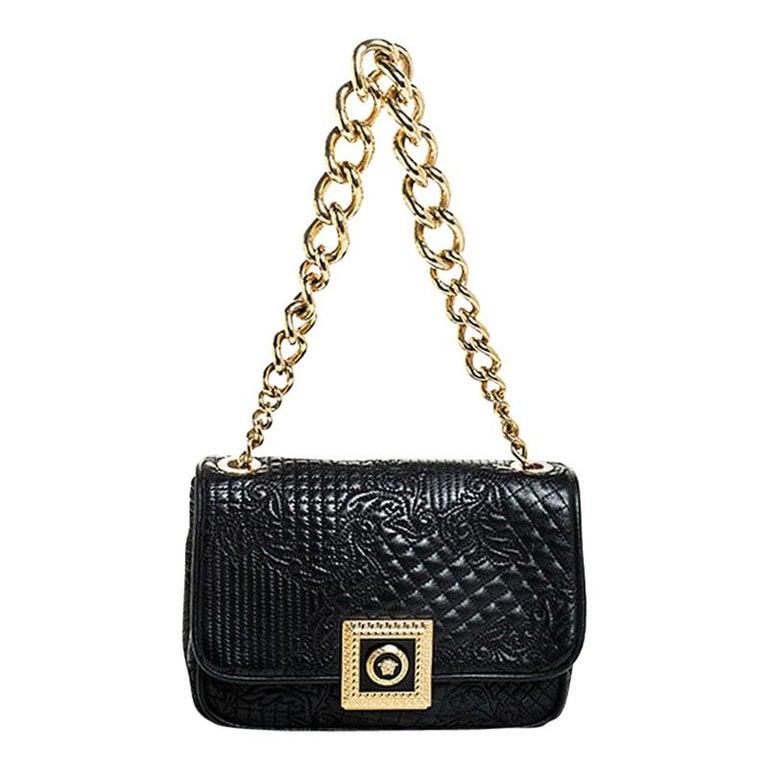 Versace Black Leather Chain Flap Shoulder Bag For Sale