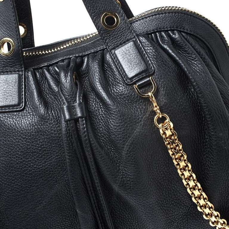 Versace Black Leather Chain Satchel For Sale 6