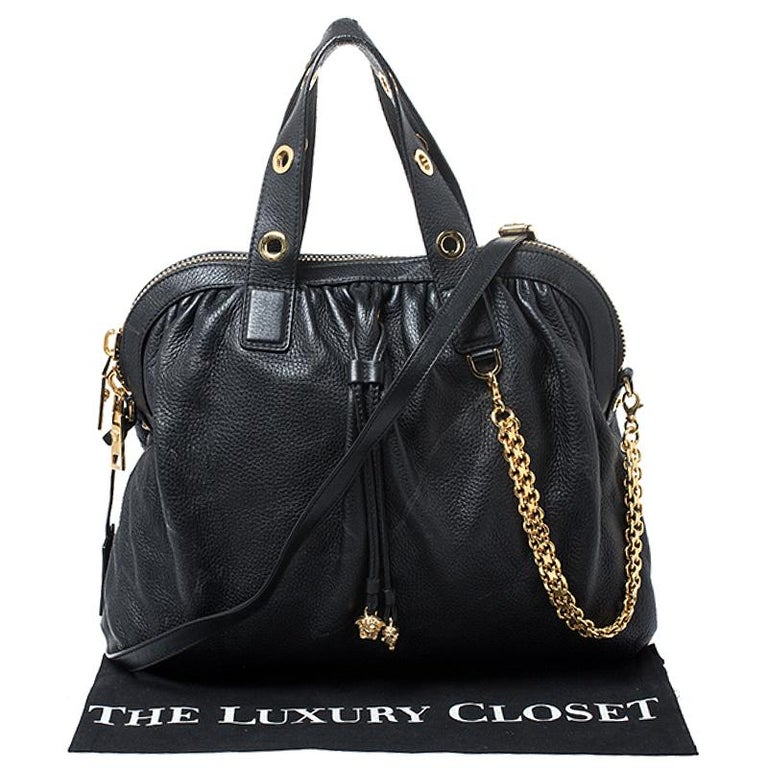 Versace Black Leather Chain Satchel For Sale 8