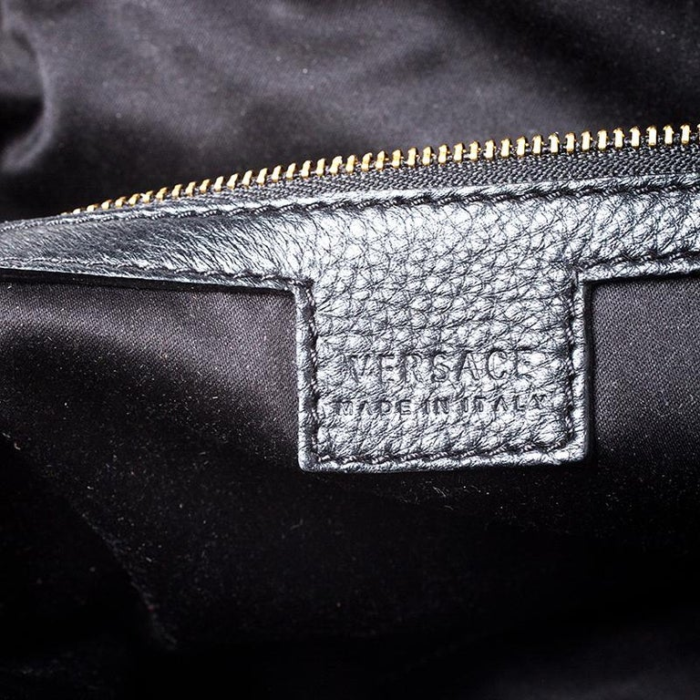 Versace Black Leather Chain Satchel For Sale 2
