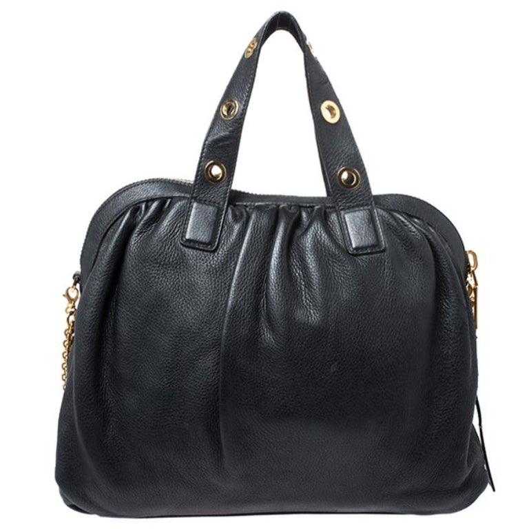 Versace Black Leather Chain Satchel For Sale 3