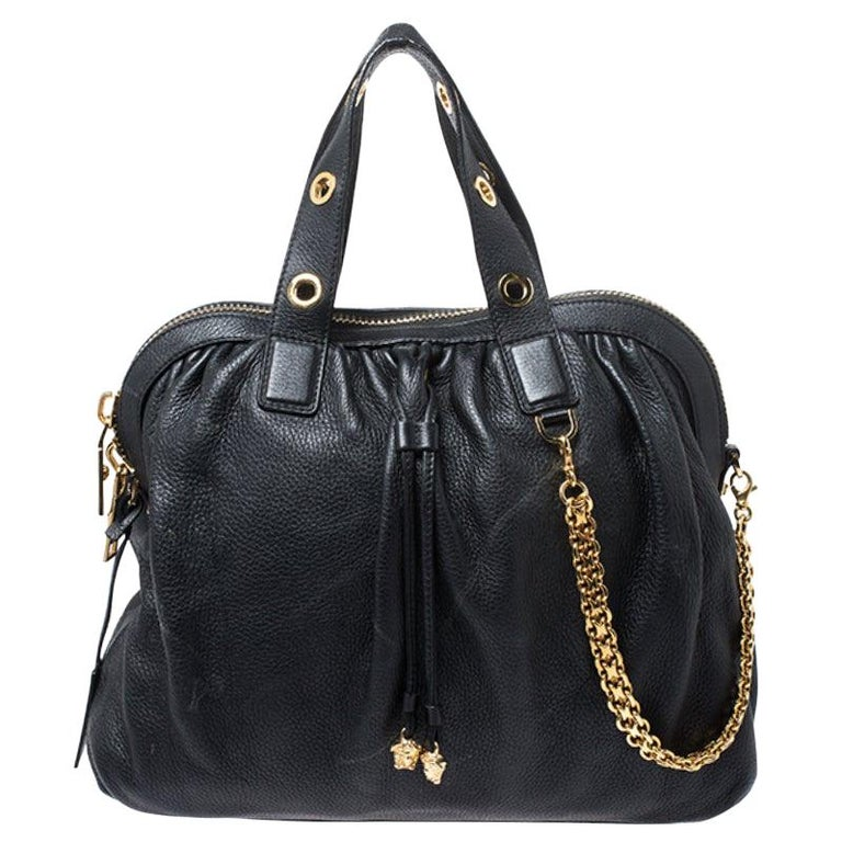 Versace Black Leather Chain Satchel For Sale
