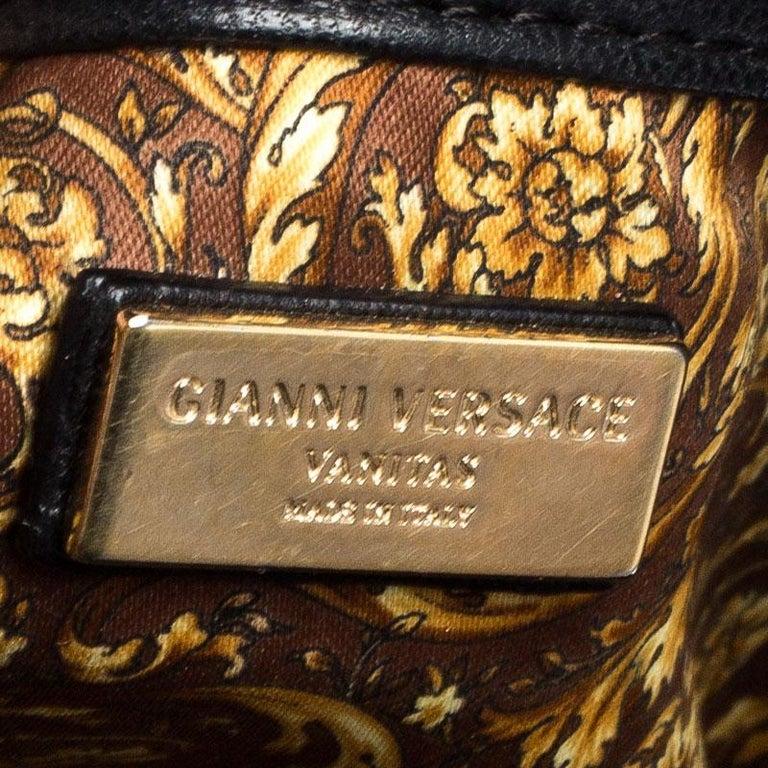 Versace Black Leather Demetra Vanitas Satchel For Sale 6