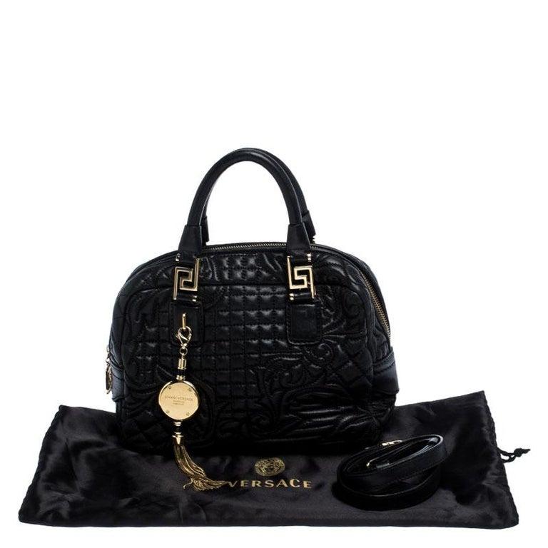 Versace Black Leather Demetra Vanitas Satchel For Sale 7