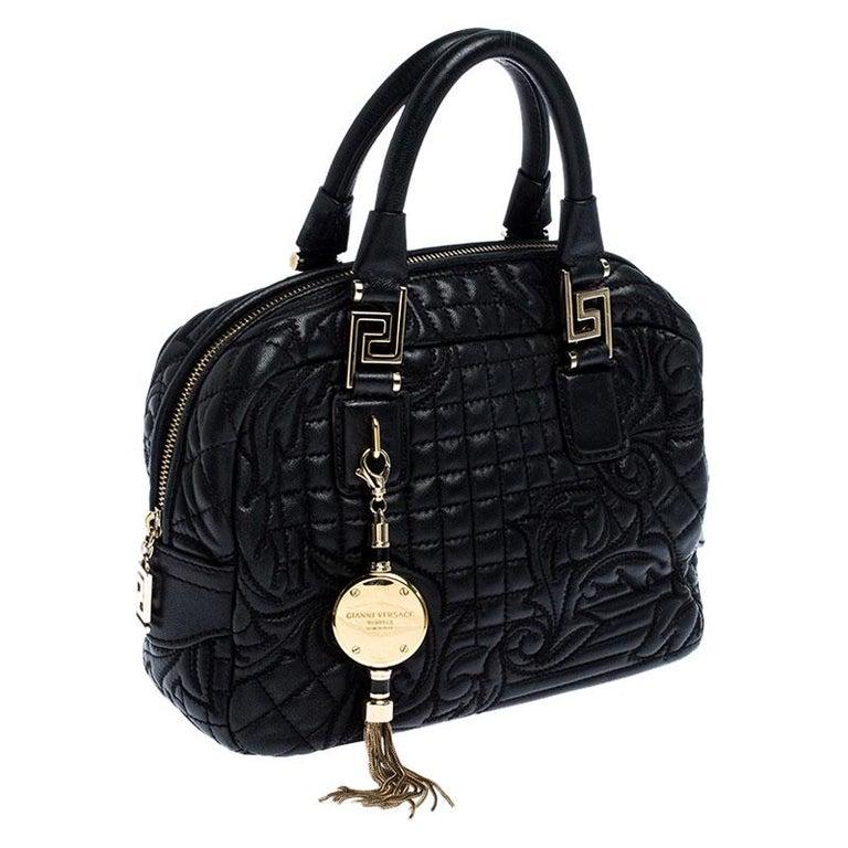 Versace Black Leather Demetra Vanitas Satchel In Good Condition For Sale In Dubai, Al Qouz 2