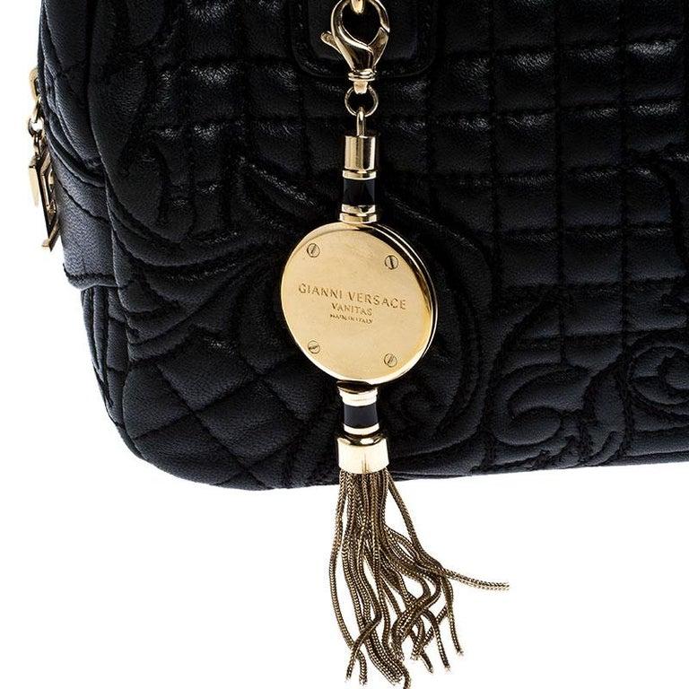 Women's Versace Black Leather Demetra Vanitas Satchel For Sale