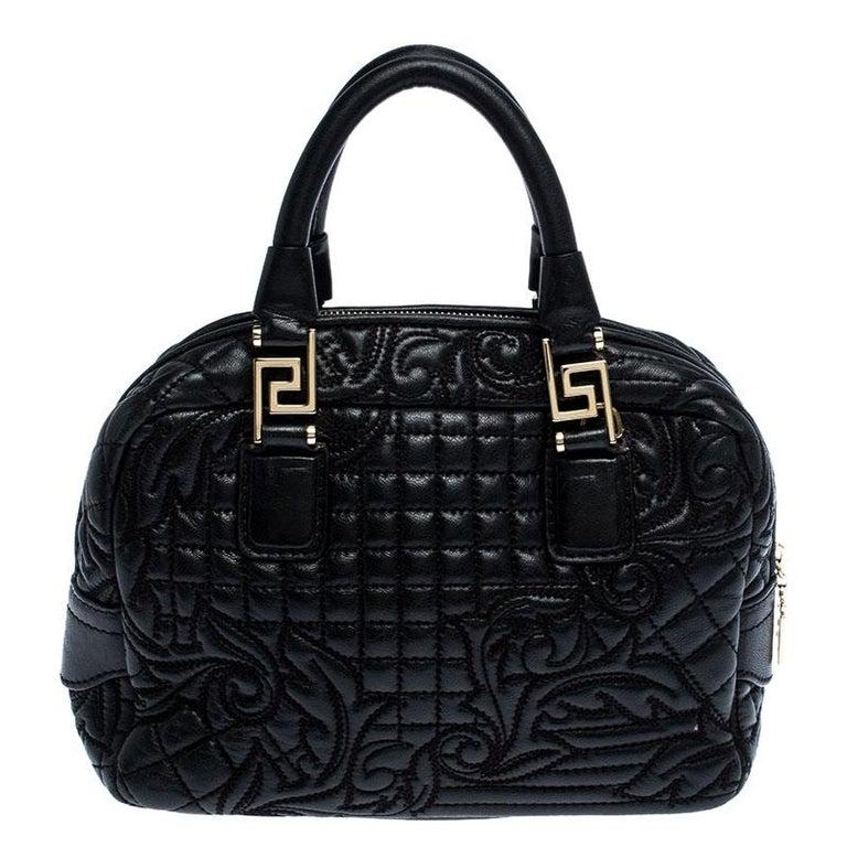 Versace Black Leather Demetra Vanitas Satchel For Sale 1