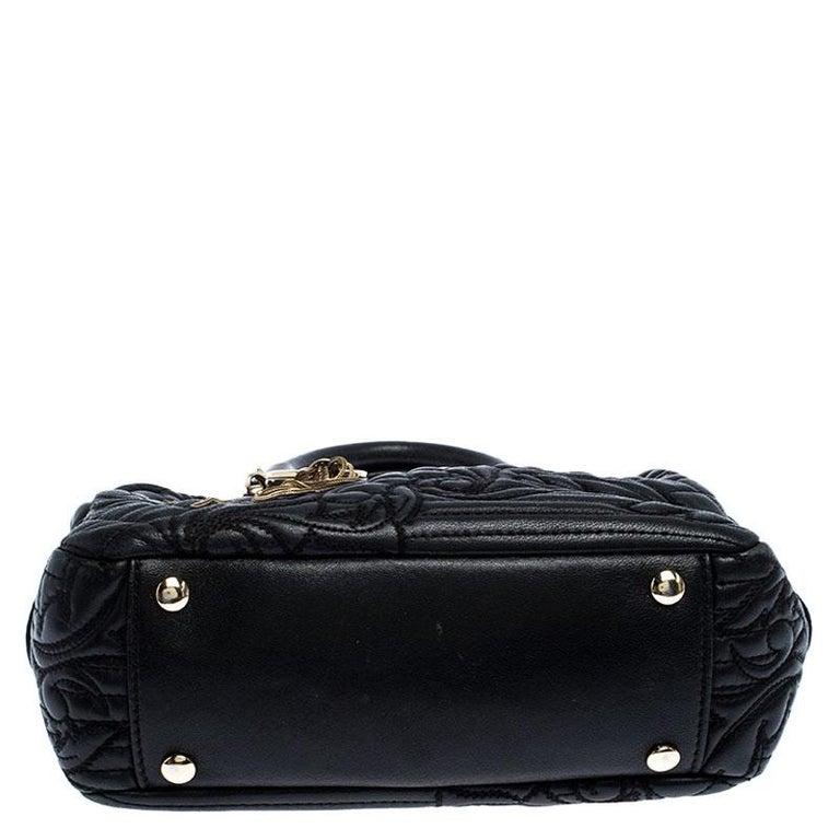 Versace Black Leather Demetra Vanitas Satchel For Sale 2