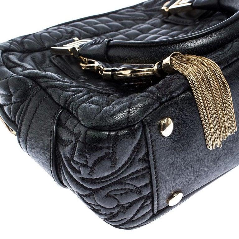 Versace Black Leather Demetra Vanitas Satchel For Sale 3