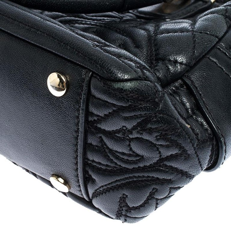 Versace Black Leather Demetra Vanitas Satchel For Sale 4