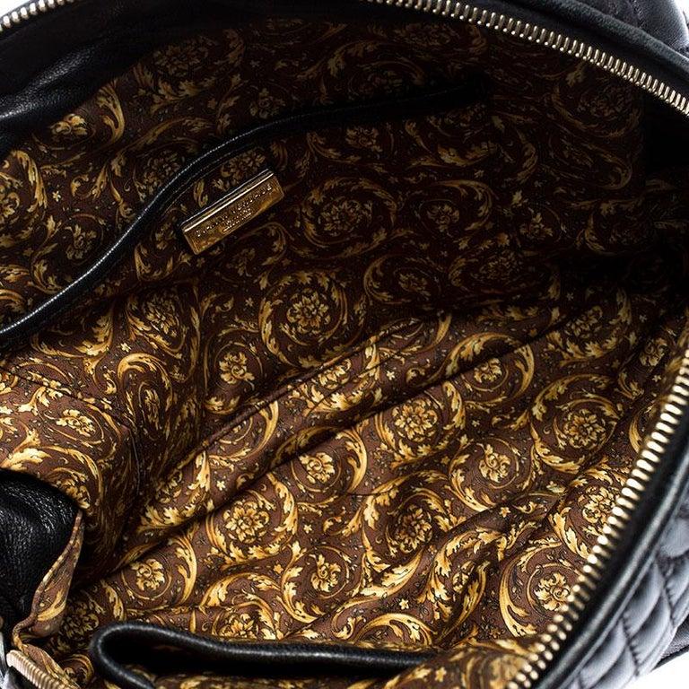 Versace Black Leather Demetra Vanitas Satchel For Sale 5