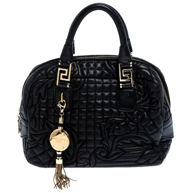 Versace Black Leather Demetra Vanitas Satchel For Sale