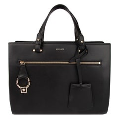 Versace Black Leather DV One Tote Bag with Detachable Shoulder Strap