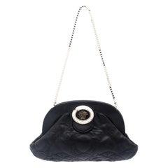 Versace Black Leather Frame Clutch