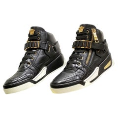 VERSACE BLACK LEATHER GOLD MEDUSA ZIPPER HIGH-TOP Fashion SNEAKERS 41 - 8