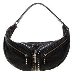 Versace Black Leather Hobo
