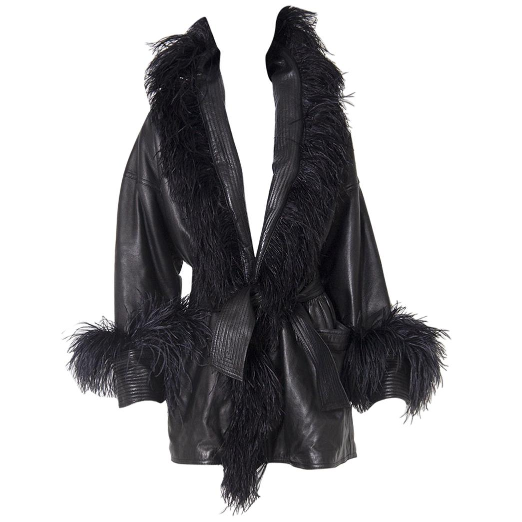 Versace Black leather jacket with ostrich feather trimmings Vintage, 1990s