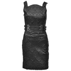 Versace Black Leather Kate Moss Mini Cocktail Dress with Cross Appliqués Size 38