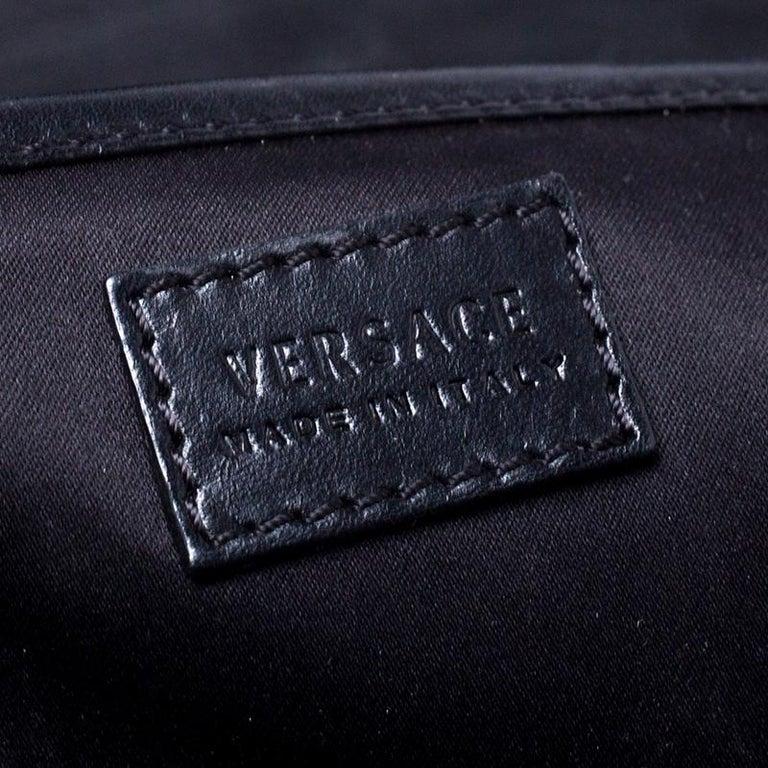 Versace Black Leather Large Medusa Medallion Tote For Sale 6