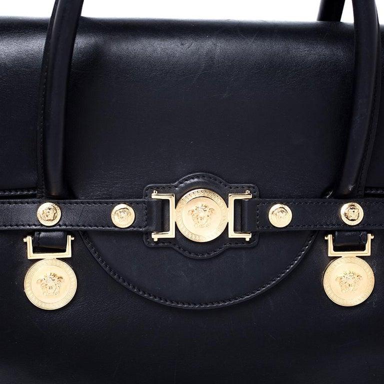 Versace Black Leather Large Medusa Medallion Tote For Sale 2