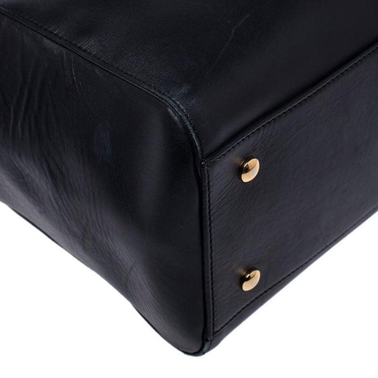 Versace Black Leather Large Medusa Medallion Tote For Sale 4
