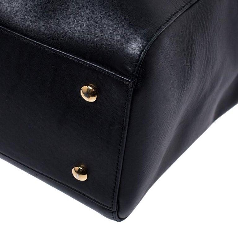 Versace Black Leather Large Medusa Medallion Tote For Sale 5