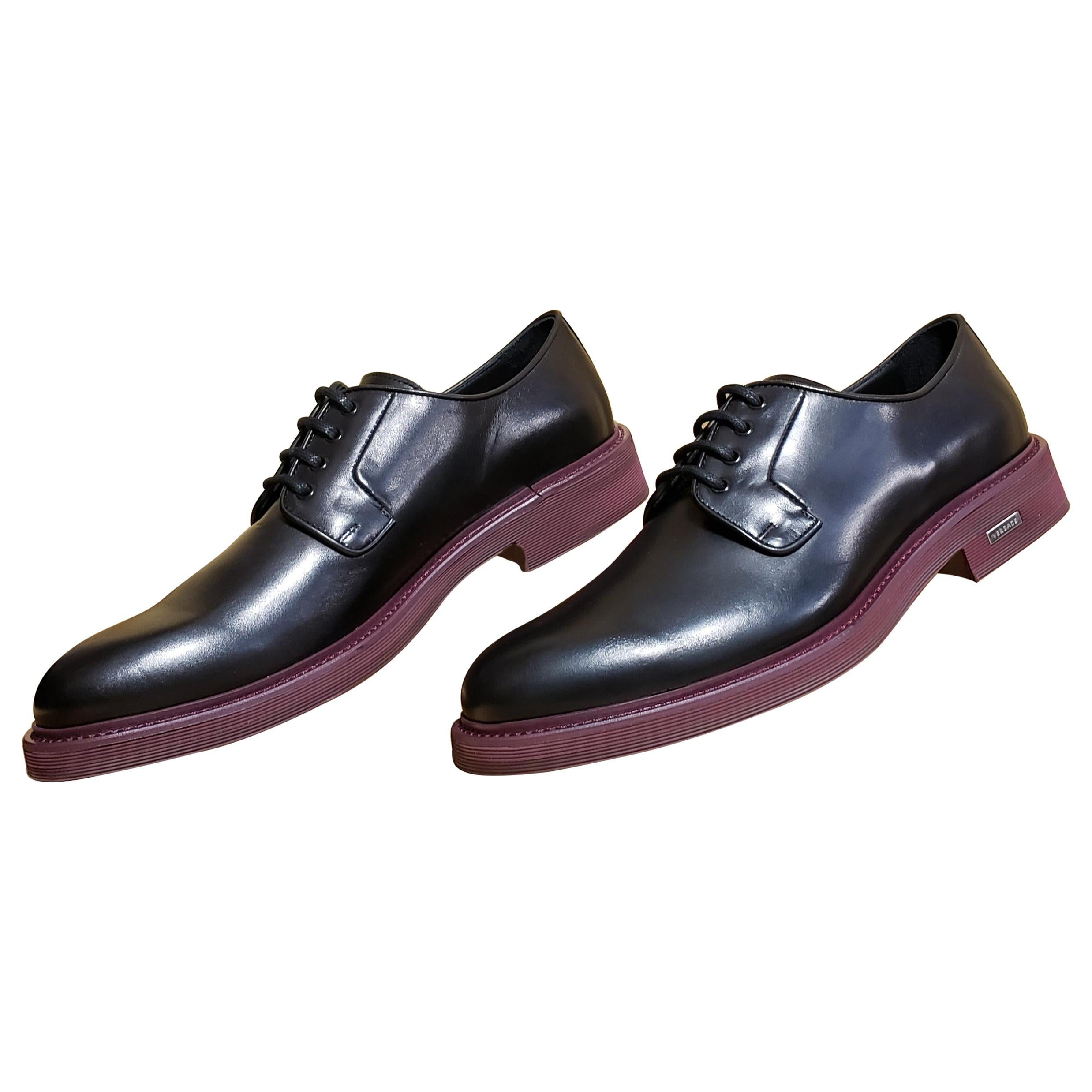 VERSACE BLACK LEATHER LOAFER SHOES with