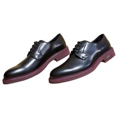 VERSACE BLACK LEATHER LOAFER SHOES with BURGUNDY HEEL 45 - 12