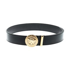 Versace Black Leather Medusa Buckle Belt 90CM