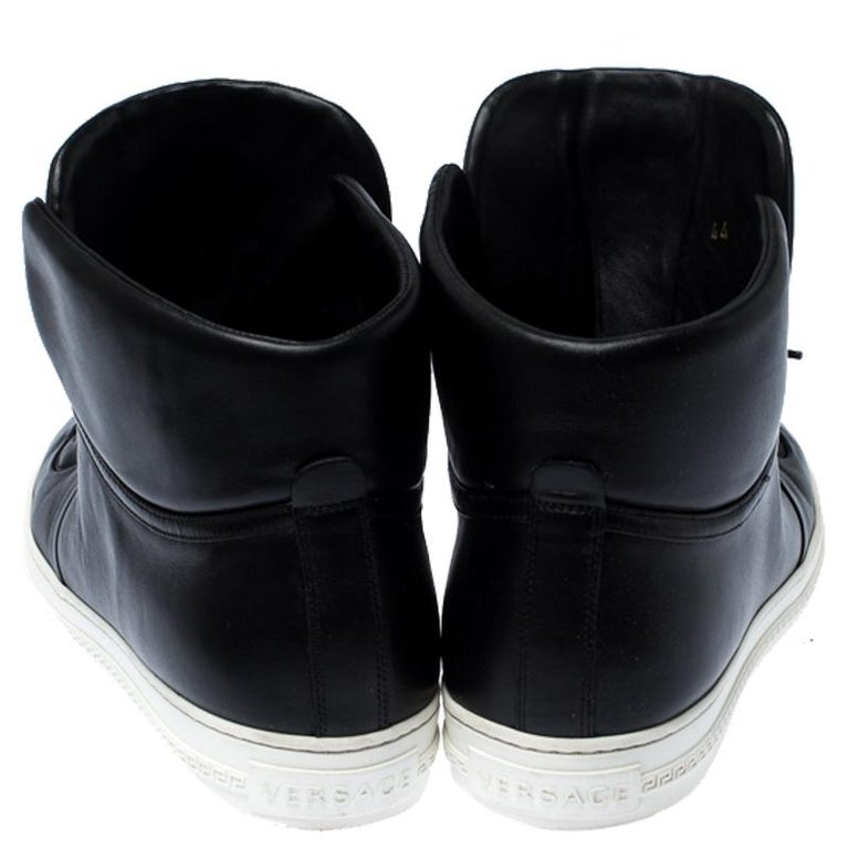 Versace Black Leather Medusa Lace High Top Sneakers Size 44 For Sale 2