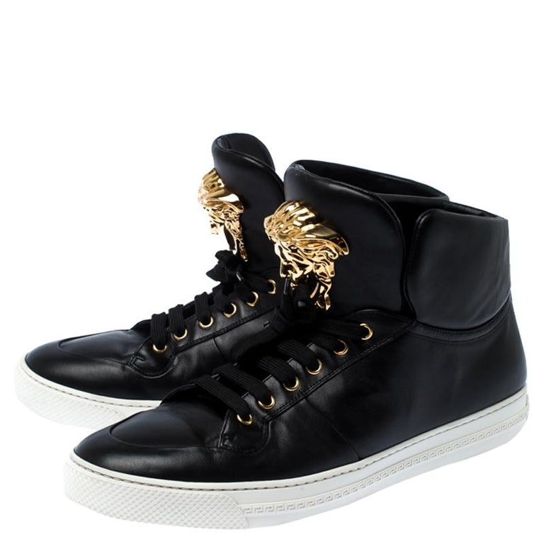 Versace Black Leather Medusa Lace High Top Sneakers Size 44 For Sale 3