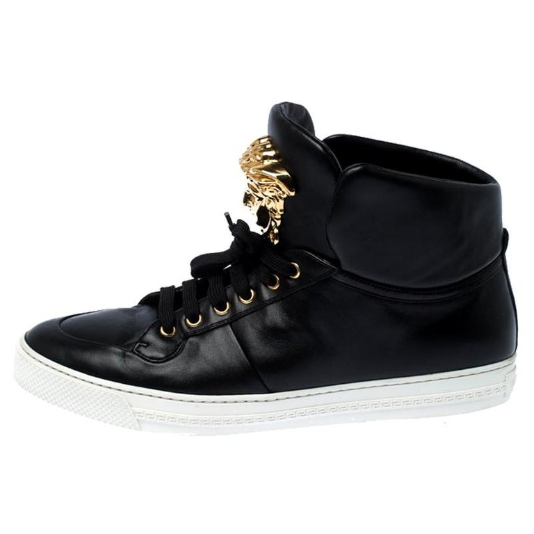 Versace Black Leather Medusa Lace High Top Sneakers Size 44 For Sale