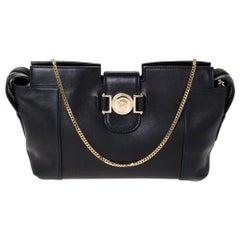 Versace Black Leather Medusa Medallion Bag