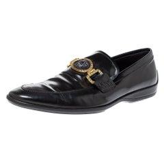 Versace Black Leather Medusa Slip On Loafers Size 43