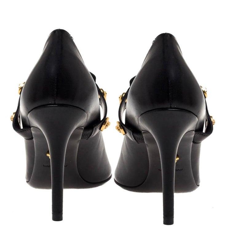 Women's Versace Black Leather Medusa Strap Pointed Toe Pumps Size 36 For Sale