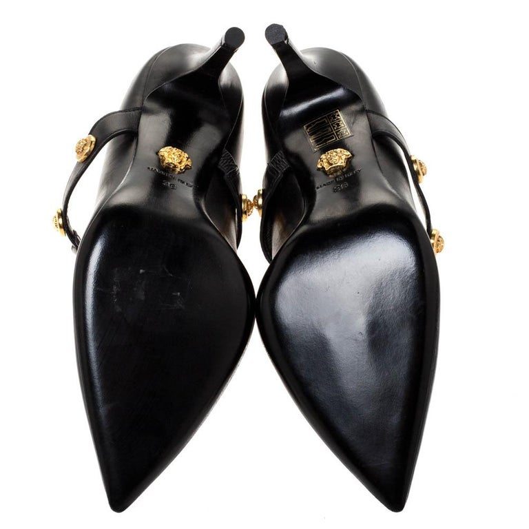 Versace Black Leather Medusa Strap Pointed Toe Pumps Size 36 For Sale 3