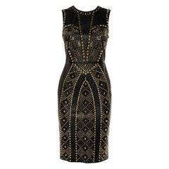 Versace Black Leather Metal Embellished Sheath Dress S
