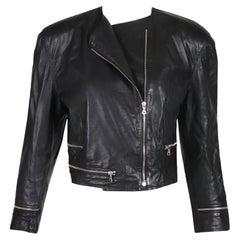 Versace Black Leather Motorcycle Jacket