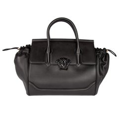 Versace Black Leather Palazzo Empire Top Handle Bag with 2 Detachable Straps